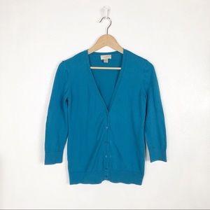 Ann Taylor Loft blue button down cardigan